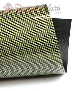 "Twill Weave Carbon/Kevlar (Yellow) Veneer 48"" x 48"""